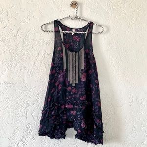 Free People floral tank top ruffle ribbon